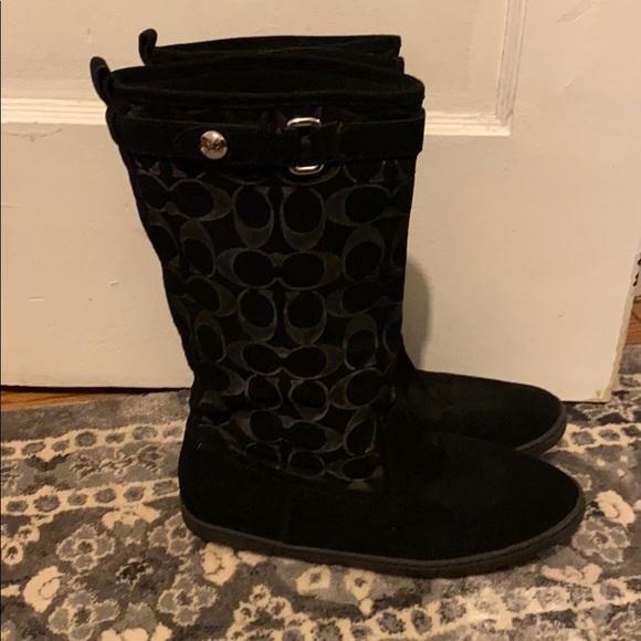 Coach Maressa black suede boots